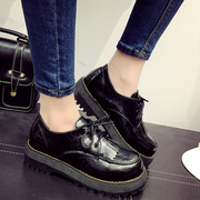 Spring of 2016 new retro shoes low with students of English Department head thick-soled platform shoes with flat women