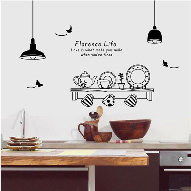 吊灯餐具墙贴餐厅厨房饭店厨房墙贴画简约时尚家居黑白艺术墙贴纸
