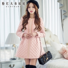 Coat women pink doll sweet slim long padded coat in 2014 Winter new coat women