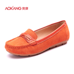 Aokang shoes spring 2016 new simple, stylish and comfortable breathable casual women's shoes with flat driving shoes