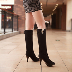 2015 winter new style sexy stiletto biker boots with round head Sleeve Rhinestone high heel boots waterproof nubuck boots