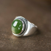 Is 925 Silver Thai fashion in Europe and the natural temperament ring girl Thai silver Jasper finger ring
