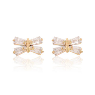 Love jewelry Korean female sweet bow Stud Earrings cubic zirconia earrings temperament Joker