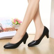 2015 new style women's shoes shoes with pointy black heels to work fine with the Korean version of career OL work shoes