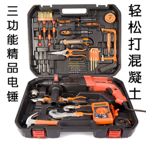 Jieshun manual household tool set hardware electrician tool set woodworking combination function maintenance box electric drill