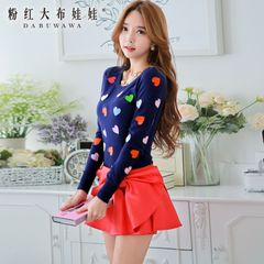 Sweater girls pink doll 2015 autumn new dark blue print slim long sleeve knit sweater