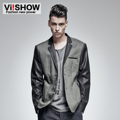 Viishow2015 spring clothing new men's leisure jacket Europe and slim fit collar splicing tide leather suit