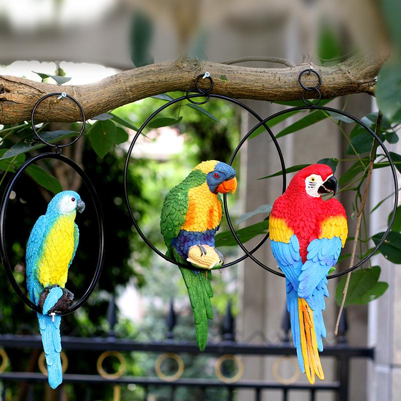 创意花园小鸟动物装饰工艺品挂件庭院户外仿真鹦鹉树脂玻璃钢雕塑