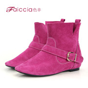 Non genuine new counters fashion candy color metal buckle boots with flat WGDS68009C