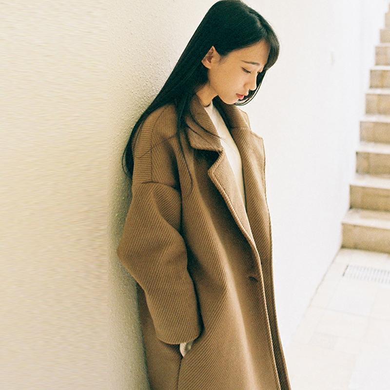 韩国中长款毛呢外套女装2017秋冬季新款韩版学生宽松加厚呢子大衣