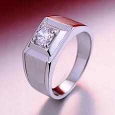 沁缘925银戒指 男士霸气个性指环 磨砂大男戒仿真钻戒 七夕礼物