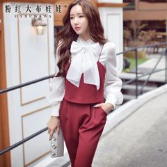 Suits girls pink dolls in the autumn 2015 temperament female Korean women temperament slim OL fashion autumn package