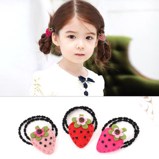 Know NI children hair furry Strawberry ring double hair band hair band sweet baby girl ornament
