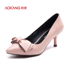 Aokang shoes spring 2016 new stylish pointy bow simple lines suit professional female high heels