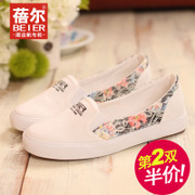 What light breathable Lok Fu shoes canvas shoes women's the lazy man shoes low cut shoes with flat Jacquard boom spring/summer bag-mail