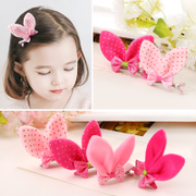 Know Richie children''s hair accessories Korean bow stereo rabbit ears hair clips cute baby side clip hairpin jewelry