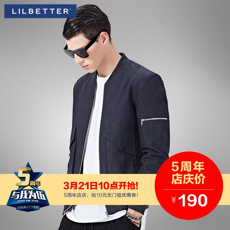 Lilbetter男士夹克 新品春秋外穿上衣机车风小立领修身潮流外套男