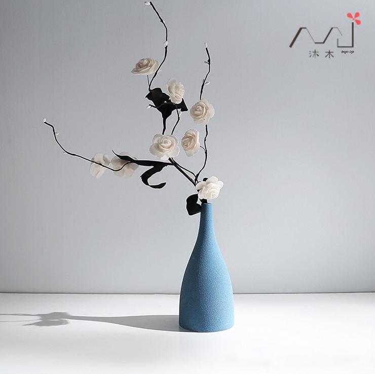 禅意北欧地中海欧式磨砂釉陶瓷灰黑蓝色花瓶现代简约装饰软装摆件