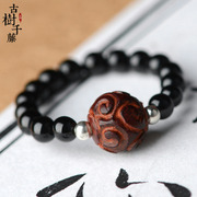 Original genuine leaflet hand-carved rosewood beads ring 925 Silver bead simple accessories female 052