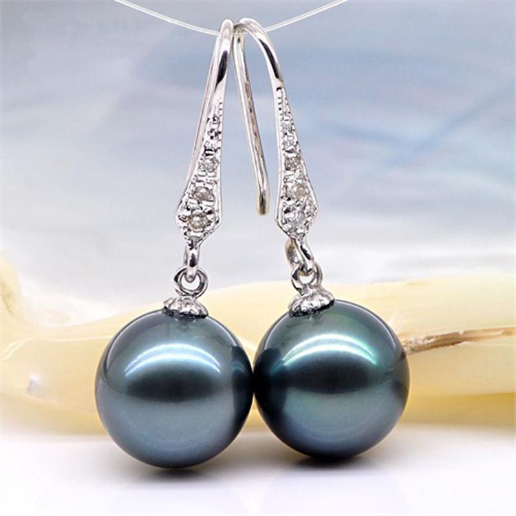 大溪地黑珍珠耳环耳钩925银镶钻海水黑珍珠耳钉贝珠耳饰气质