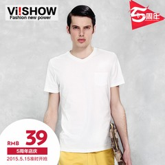 Viishow men's new style men's v neck cotton short sleeve t shirt White authentic slim fit t shirt v neck wave short t