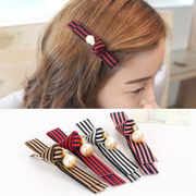 Know Connie hair accessories Korean Queen fabric stripes hairpin clip jewelry Pearl water bit bang clip Duckbill clips
