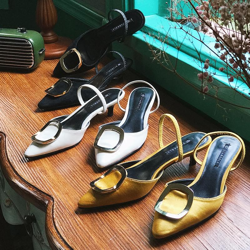 2019春季韩版浅口低跟婚鞋高跟鞋细跟凉鞋弹力带方扣套脚尖头单鞋
