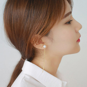 Simple Pearl temperament long tassels earring earring ear loop ear Su line Korea fashion jewelry women