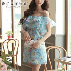 Sexy dress big pink doll summer 2015 women's slim hips wrapped in Lotus leaves sexy strap dress