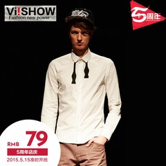 New men's long sleeve shirt viishow2015 spring tide New Oxford slim fit long sleeve shirt