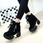 2015 winter season new increase in the Korean version of casual shoes high heel sneakers women's shoes platform high shoes and cotton surges