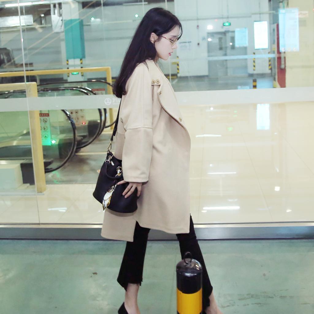 2017韩版新款毛呢外套斗篷大衣女秋冬款妮子肥版
