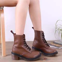 MI Ka 2015 new high boots British retro rough wind in autumn and winter with short tube Martin high heel platform boots