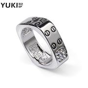 YUKI Korean version of the original design men''s square ring ring ring jewelry rings fashion index finger ring