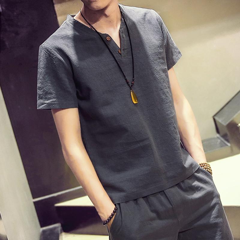 夏装日系亚麻短袖t恤男士纯色棉麻半袖青年大码修身v字领短袖男装