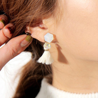 Fashion Korean temperament Crystal tassel Joker temperament Korea Korean jewelry earring hoop earrings earrings woman
