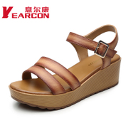 Kang shoes summer 2015 new genuine leather wedges high heel peep-toe commuter cool women shoes