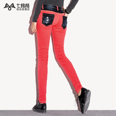 Seven space space OTHERCRAZY patch Pocket skinny jeans slim skinny jeans with bound feet women