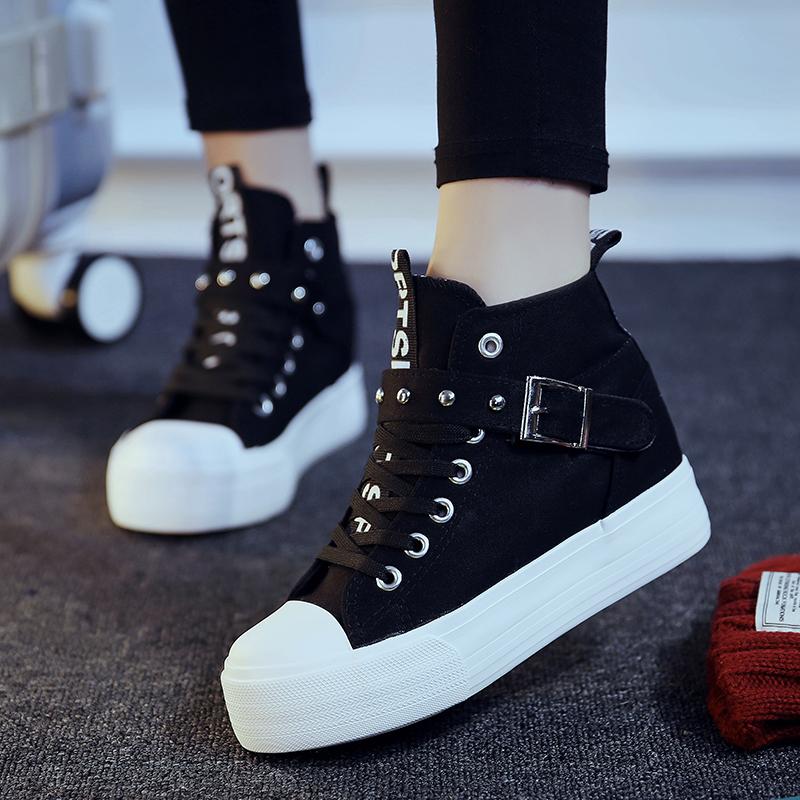 飞耐秋冬厚底松糕鞋高帮黑色帆布鞋女韩版潮系带布鞋内增高学生鞋