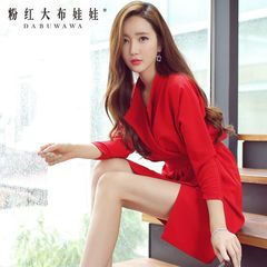 Autumn 2015 pink long sleeve dress dolls new Womenswear temperament folds red bag hip dress