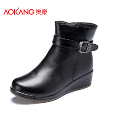 Aokang shoes autumn and winter boots shoes leather mother old anti-sliding warm and comfortable winter boots women's boots