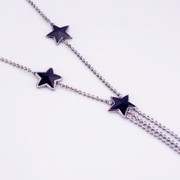 Mail compose good fashion girl Korean version of five-pointed stars fringed sweater chain long necklace black quality pendants