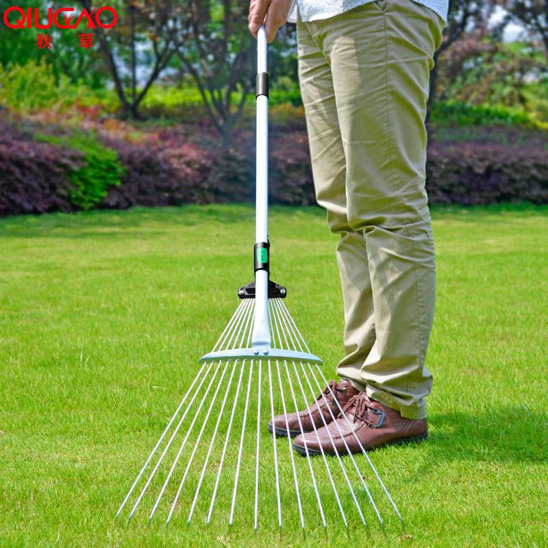 15齿草耙花园草坪搂草耙枯叶落叶耙72-150厘米伸缩手柄铁耙子可调