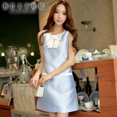 2015 summer pink dress doll summer dress new women's smaller fields breathe sweet temperament of slim sleeveless dress
