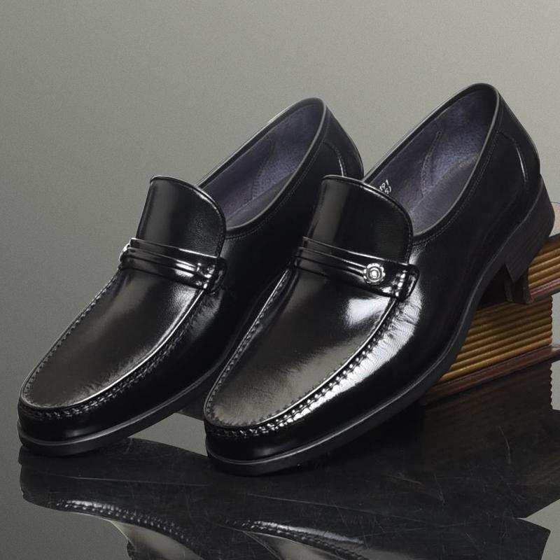 一脚蹬皮鞋套脚男鞋皮鞋商务正装懒人鞋男士工作鞋羊皮爸爸鞋