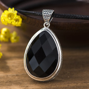 Is 925 Silver Thai fashion woman natural black agate pendant agate pendant new