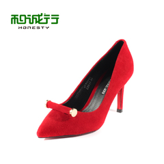 He Chenghang and fall 2015 pointed scrub Sheepskin fashion women's high heel stiletto shoe 0770048