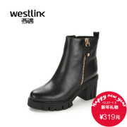 2015 West Martin boots fall/winter New England leather head rough with short-tube in high heel women boots women's shoes