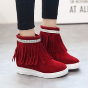 Autumn in Europe and America the new sweet tassel short boots women boots platform thick round the end of Scrubs and naked boots women's shoes