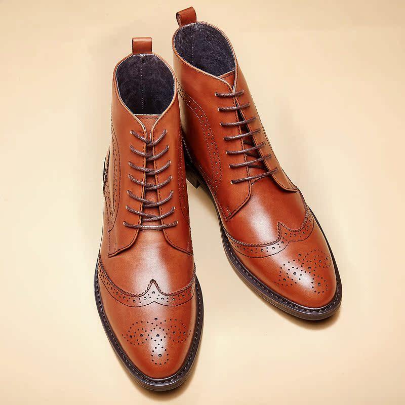 布莱希尔顿布洛克英伦雕花男靴子尖头短靴男士高帮男鞋真皮皮靴